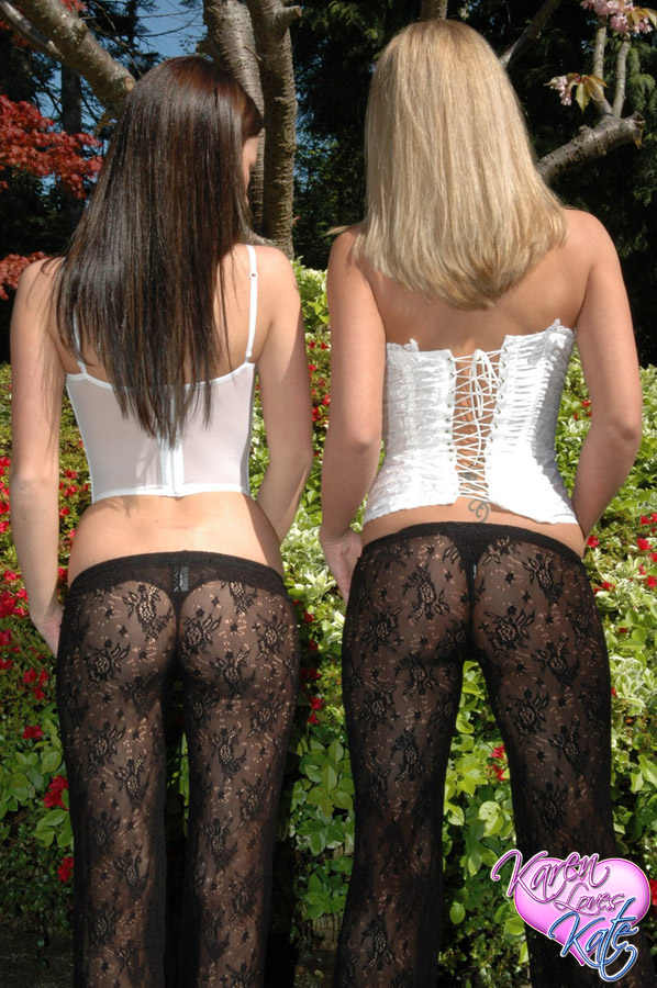 Kate and Karen show off their tight round butt's in matching lace pants and black thongs