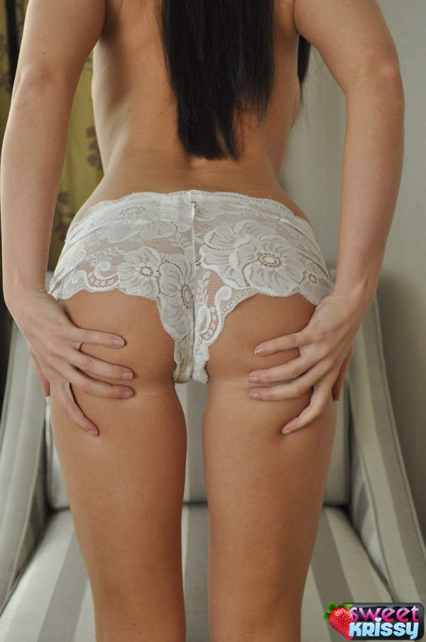 Krissy loves to show her perfect made for spanking ass in lace panties