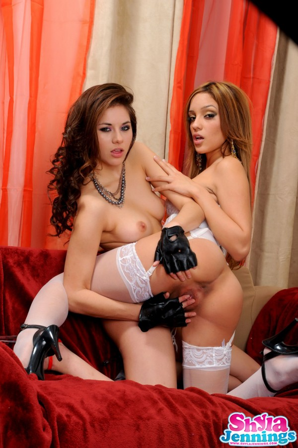 Shyla Jennings and Melanie Rios get down and dirty with each other's perfect teenage butts
